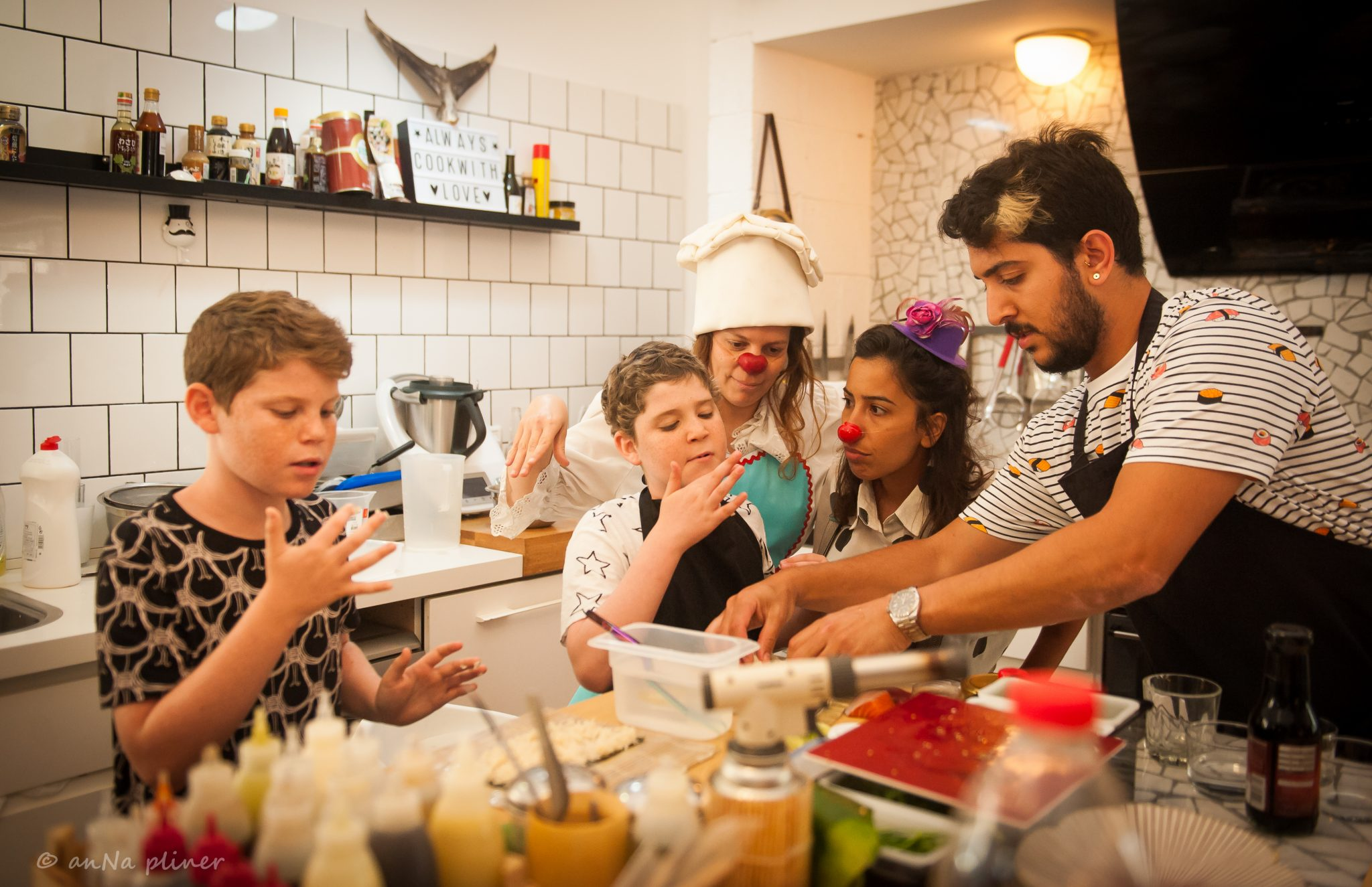 Shalev, 10 — participating in his own private sushi-making workshop with Chef Meidan Siboni